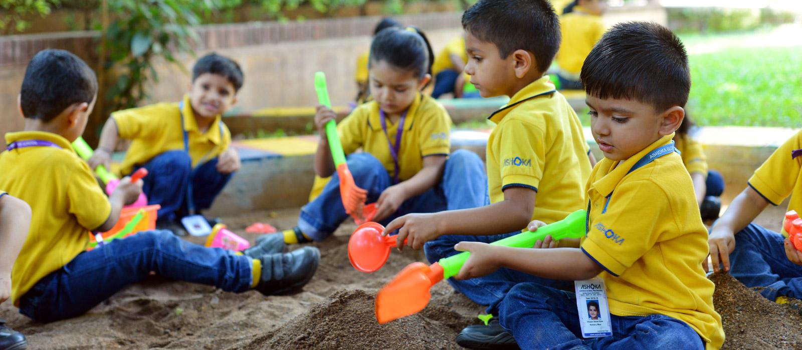 playing with nature at ashoka preschool